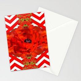 ORANGE-RED POPPY PATTERNS ART Stationery Cards