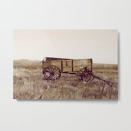 Sepia Abandoned Grain Wagon in a Field Metal Print