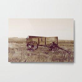 Sepia Abandoned Grain Wagon in a Field Metal Print