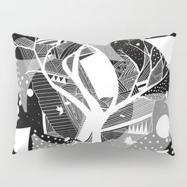 black and white abstract with touch of red Pillow Sham