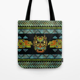 Tribal Ethnic  Mask  with Colored Glass and Gold decor Tote Bag