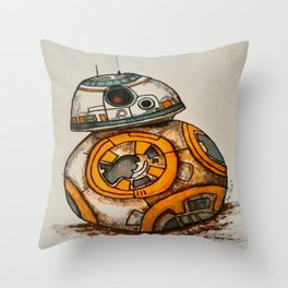 BB-8 Gets Dirty Throw Pillow