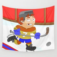 sports Wall Tapestries featuring Winter Sports: Ice Hockey by Alapapaju