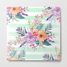 Watercolor Boho floral, tropical leaves, stripes hand paint Metal Print