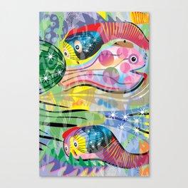 Hippy Fish in Rainbow Glow Canvas Print