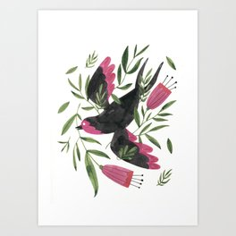 Swallow with Flowers Art Print