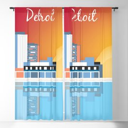 Detroit, Michigan - Skyline Illustration by Loose Petals Blackout Curtain