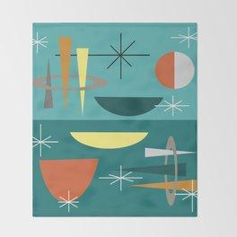 Turquoise Mid Century Modern Throw Blanket