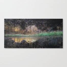 Dark Reflections mixed media abstract landscape Canvas Print