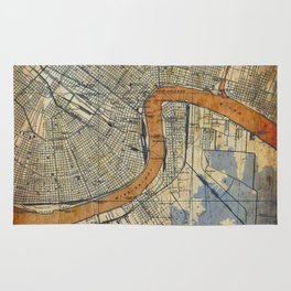 New Orleans Louisiana 1932 vintage map, NO old colorful artwork Rug