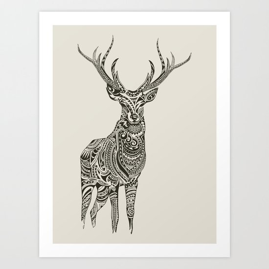 Polynesian Deer Art Print by Huebucket | Society6