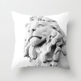 Stone Lion - Black&White Throw Pillow