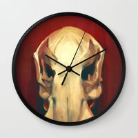 platypus Wall Clocks featuring Platypus Skull by Noa Katzir