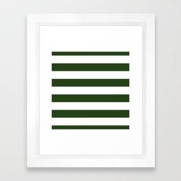 Large Dark Forest Green and White Cabana Tent Stripes Framed Art Print