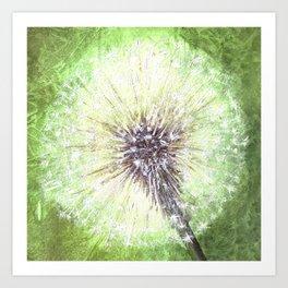 Green Dandelion Art Print