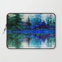 BLUE SCENIC MOUNTAIN PINES LAKE REFLECTION ART  PATTERNS Laptop Sleeve
