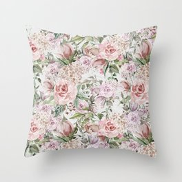 Blush pink lilac white lace country floral Throw Pillow