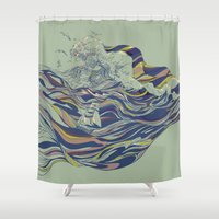 ocean Shower Curtains featuring OCEAN AND LOVE by Huebucket