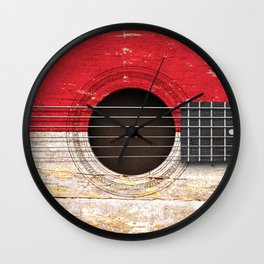 Old Vintage Acoustic Guitar with Indonesian Flag Wall Clock