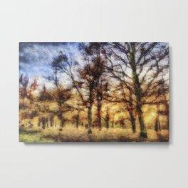 Pastel Sunset Trees Metal Print
