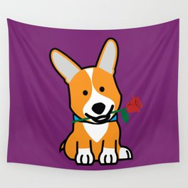Corgi dog puppy Pembroke Welsh Valentine Rose Wall Tapestry