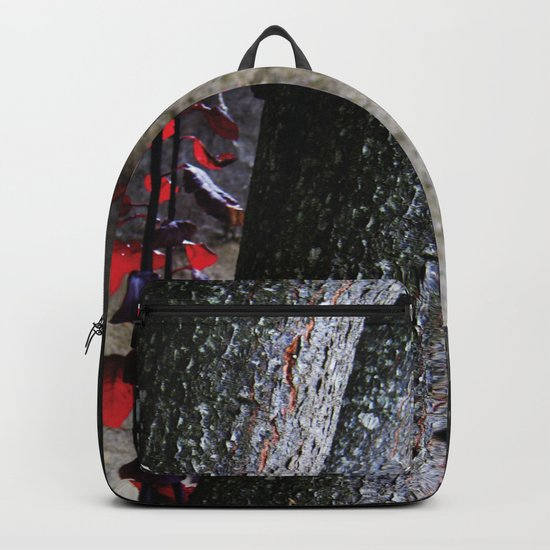 Urban tree with red leaves Backpack
