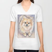pomeranian V-neck T-shirts featuring Pomeranian Watercolor Pom Painting by Olechka