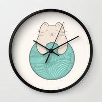 knit Wall Clocks featuring knit cat by kim vervuurt
