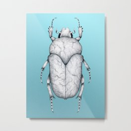 White Marble Beetle on Blue Background Metal Print