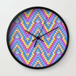 Turkish carpet pink blue lilac purple pink beige. Patchwork mosaic oriental kilim rug Wall Clock