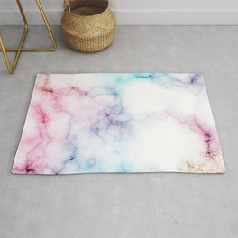 Rainbow Love Touch of Fantasy Faux Marble Pattern Rug