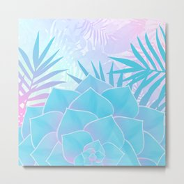 Pastel Rainbow Tropical Flower Paradise Design Metal Print