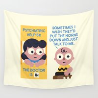 psychology Wall Tapestries featuring Muted Affection by David Olenick