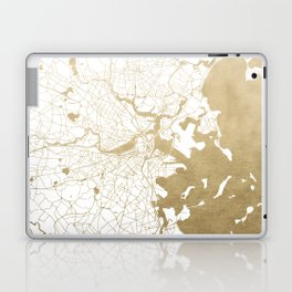 Boston White and Gold Map Laptop & iPad Skin