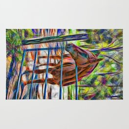 Abstract horse standing at gate Rug
