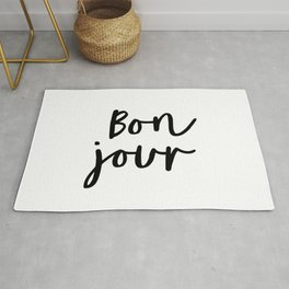 Bonjour black and white monochrome typography poster home wall decor bedroom minimalism Rug