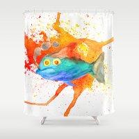 smoking Shower Curtains featuring Smoking fish by gunberk