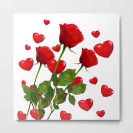 RED  ROSES & VALENTINES HEARTS  DESIGN Metal Print