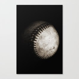 Battered Baseball in Black and White Canvas Print