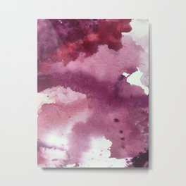 Blushing [2]: a minimal abstract watercolor and ink piece in shades of purple and red Metal Print