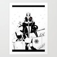 roosterteeth Art Prints featuring [RWBY] Adam Taurus by AikiYun