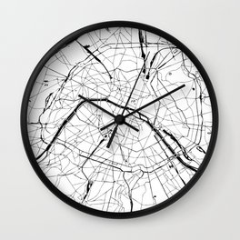 Paris France Minimal Street Map - Black and White Wall Clock