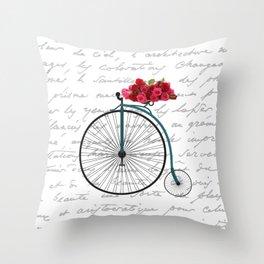 Floral Bike Throw Pillow