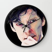 benedict cumberbatch Wall Clocks featuring Benedict Cumberbatch by Hash