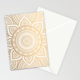 Gold Mandala Pattern Illustration With White Shimmer Stationery Cards