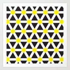 Yellow, white stripes geometric pattern Art Print