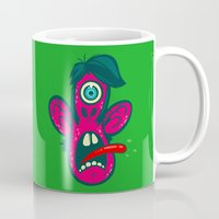 cyclops Mugs featuring Frightened Cyclops by Artistic Dyslexia
