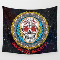 day of the dead Wall Tapestries featuring Day of the Dead by Gary Grayson