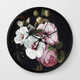 """Cornelis Kick """"Roses, poppies, hollyhocks, a marigold and other flowers"""" Wall Clock"""