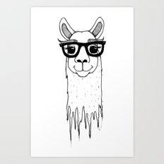 Hipster llama Art Print